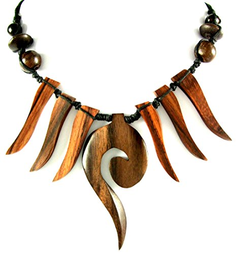 "Handmade Swirl Boho Tribal Sono Wooden Cord Necklace 18""- 28"" Adjustable ; DA033"