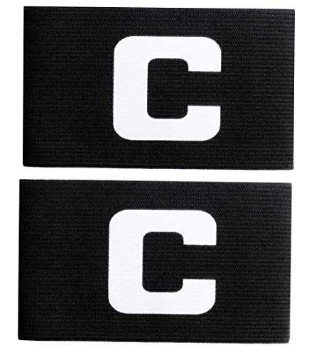MAYFOO Soccer Captains Armband - Captain Arm Bands Wristband for Kids,Youth and Adult (Adult, Black:B)