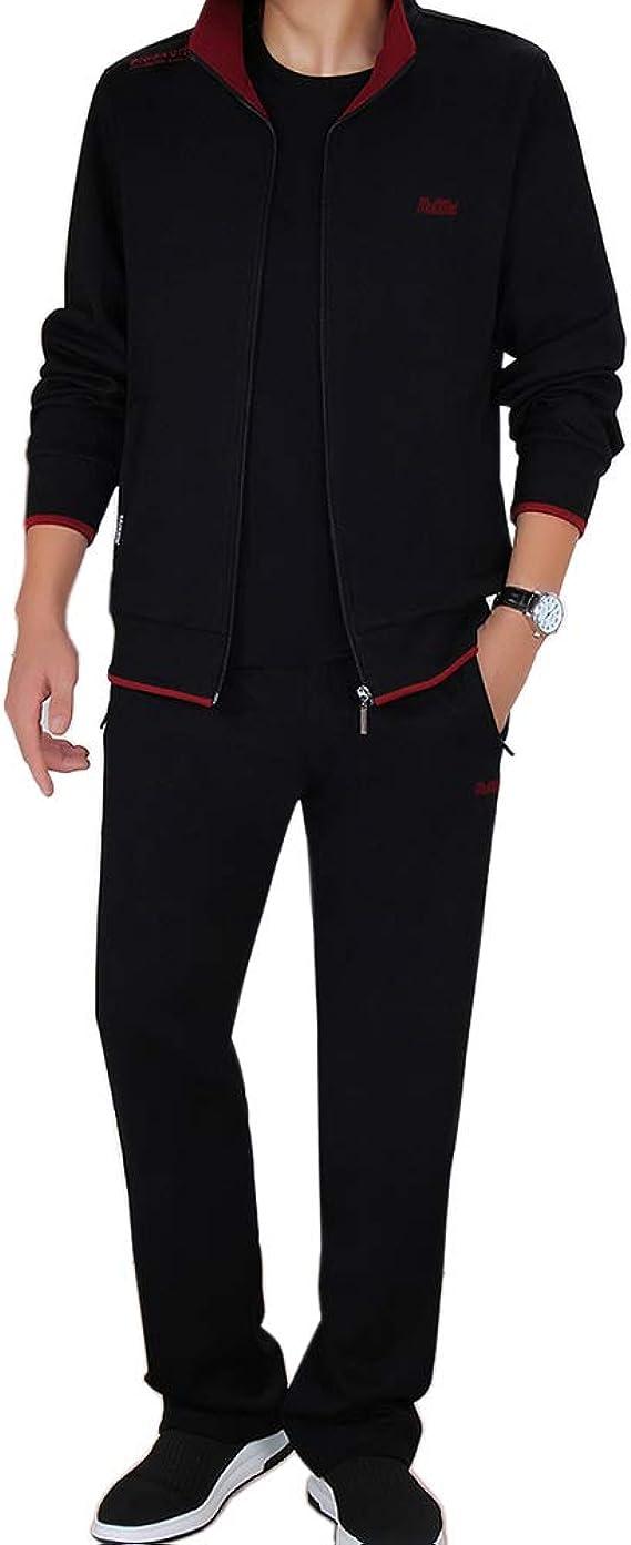 LeerKing Conjunto de Chándal para Hombre con Zip 2 Piezas Algodón Sudadera+Pantalones para Sports Running: Amazon.es: Ropa y accesorios