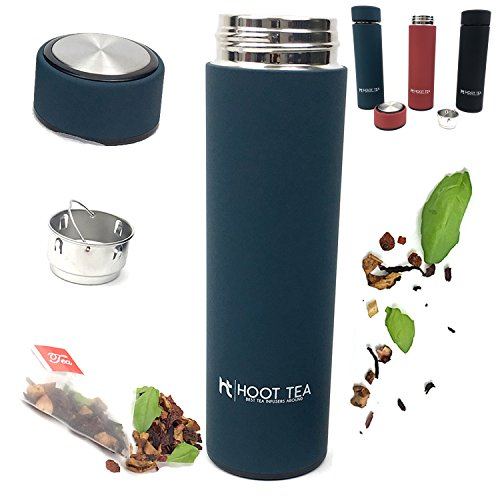 TEA AND COFFE INFUSER BY HOOT TEA -Stainless Steel Portable Insulated Water Bottle - Great Tumbler for DETOX, LOOSE LEAF, ICE, FRUIT, OILS, And VEGGIES - Silicone FILTER BAG- NavyGreat For Tea Lovers