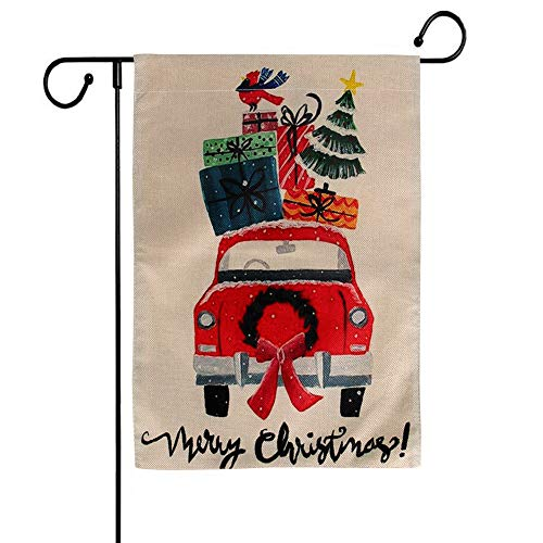 BIGWISH Merry Christmas Red Truck Garden House Flag Rustic Winter Seasonal Outdoor Decor New Year Holiday Flag 12×18 Inches