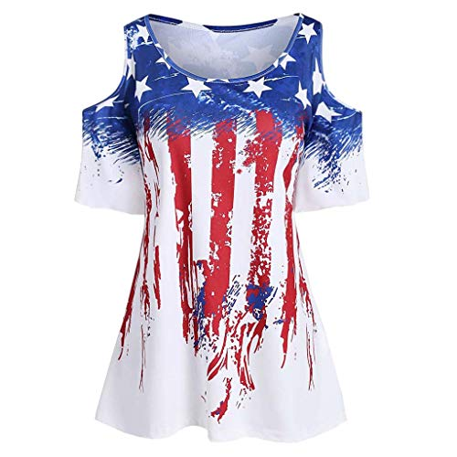 (Women's Short Sleeve T Shirts, Patriotic Stripes Star American Flag Cold Shoulder Casual Blouse Top White)