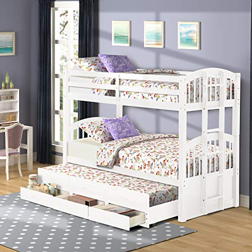 Twin Over Twin Bunk Bed with Trundle for Kids, Wood Bunk Bed Frame with Storage Drawers White