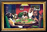 C.M. Coolidge (Bold Bluff, Dogs Playing Poker) 36x24 Dry Mount Poster Matte Back Wood Framed