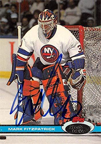 - Mark Fitzpatrick autographed Hockey Card (New York Islanders, SC) 1990 Topps Stadium Club #345 - Hockey Slabbed Autographed Cards