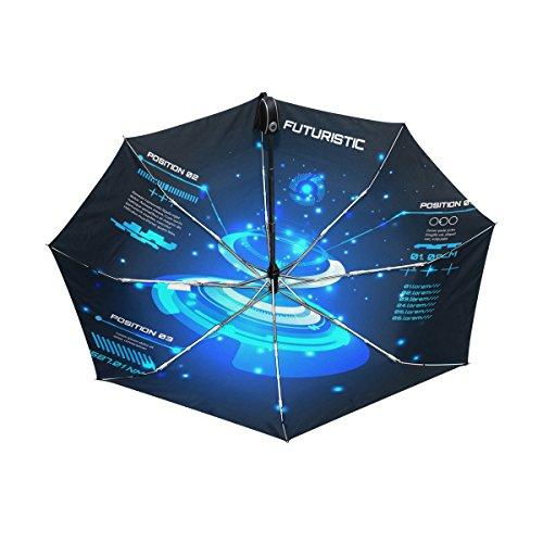 Abstract Futuristic Design Lightweight UPF 50+ Anti-UV Parasol Waterproof Windproof Reverse 3 Folds Auto Open Close Umbrella