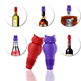 Silicone Fun Owl Wine Bottle Stopper and Bottle Cork Set,Set of 2,Purple and Red,by HITFUN