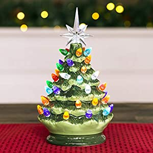 Best Choice Products 9.5in Pre-Lit Hand-Painted Ceramic Tabletop Christmas Tree w/Lights, 3 Star Toppers - Green 2