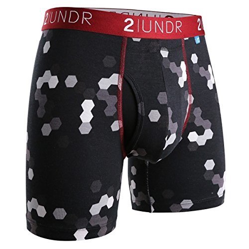 2UNDR Men's Swingshift Boxers,Metro Hexual,X-Large ()