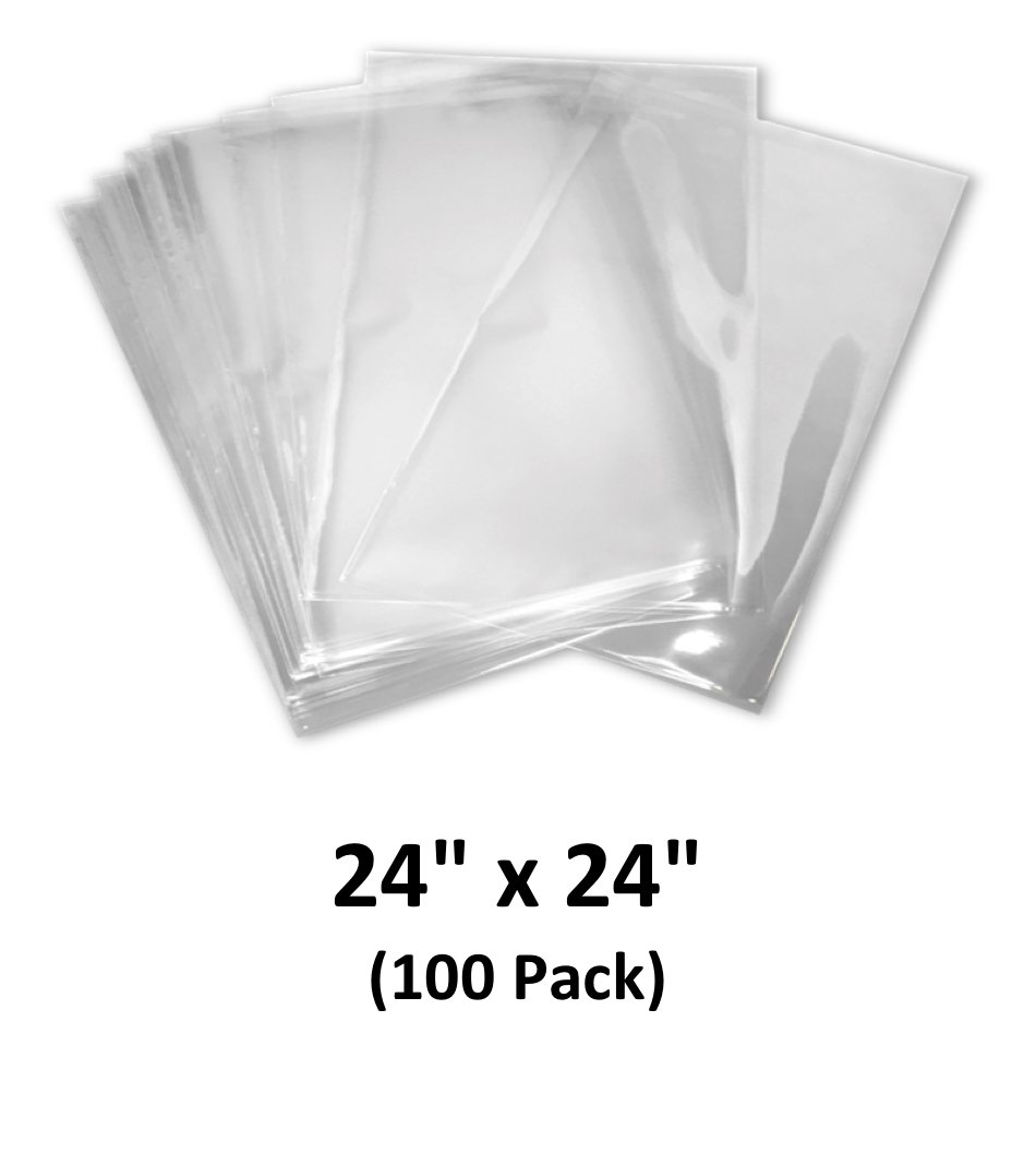 24x24 inch Odorless, Clear, 100 Guage, PVC Heat Shrink Wrap Bags for Gifts, Packagaing, Homemade DIY Projects, Bath Bombs, Soaps, and Other Merchandise (100 Pack)   MagicWater Supply