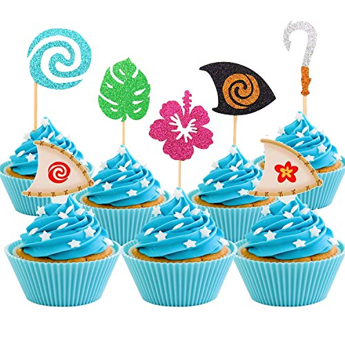 Price comparison product image 30 PcsMoana Inspired Cupcake Toppers Moana Cupcake Toppers Birthday Party Decoration Boat Sail Swirls Hooks Hawaiian Flower Leaves for Tropical Luau Summer Party Baby Shower Wedding
