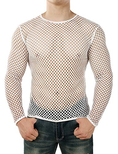 (JOGAL Men's Mesh Fishnet Fitted Long Sleeve Muscle Top Medium WG04 White )