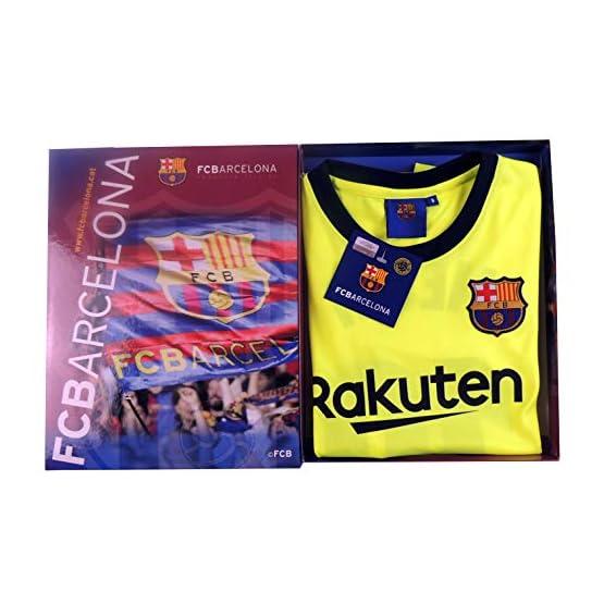 Ensemble Maillot et Pantalon 2e équipements FC. Barcelona 2018-2019 - Réplique Offcielle avec Licence - Crête 10 Messi - Enfant Taille 8 - Mesure Poitrine 39 - Longueur Totale 54 - Manche Long 15 cm.
