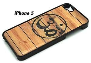 BLACK Snap On Hard Case IPHONE 5 5S Plastic Skin Cover - Wood Ohm Symbol buddha ...