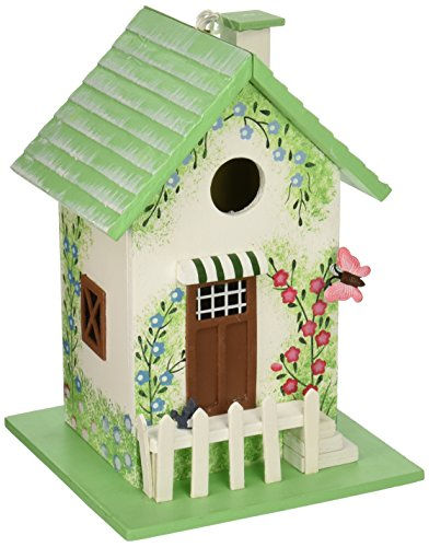 Home Bazaar HB-6002S Butterfly Cottage Birdhouse – Green - Green Birdhouse