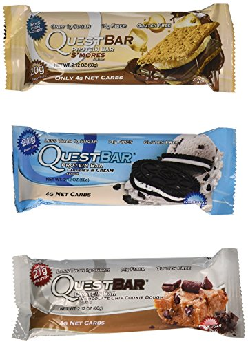 Quest Nutrition Protein Bar Variety Pack, Including S'mores, Cookies & Cream & Chocolate Chip Cookie Dough, Pack of 12, 4 of 2.12 oz Each