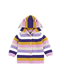MAOMAHREWW Toddler Baby Boys Girls Sweater Cardigan Rainbow Knit Hoodie Outerwear