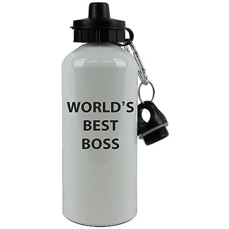White Aluminum Black World's Best Boss, 20-Ounce (600 ML) Sport Water Bottle with Sports Top, Carabiner