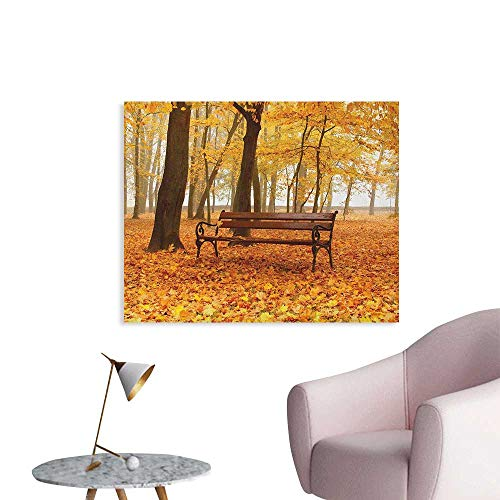 Anzhutwelve Rustic Wallpaper Rustic Bench in Golden Pale Autumn Park Mist Day November Love Fall Season Photo The Office Poster Orange Brown W36 ()