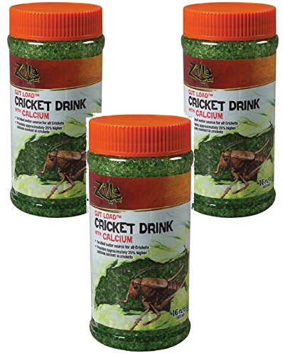 Zilla Reptile Food Gut Load Cricket Drink, with Calcium, 16-ounce (3 Pack)