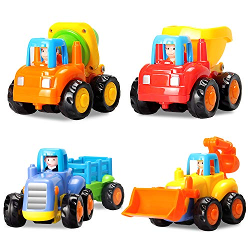 HOMOF Baby Toys Push Go Friction Powered Car Toys Early Educational Toddler oys Sets 4 PCS -Tractor,Bulldozer,Cement Mixer&Dumper Construction Engineering Vehicles Best Gifts Boys Girls