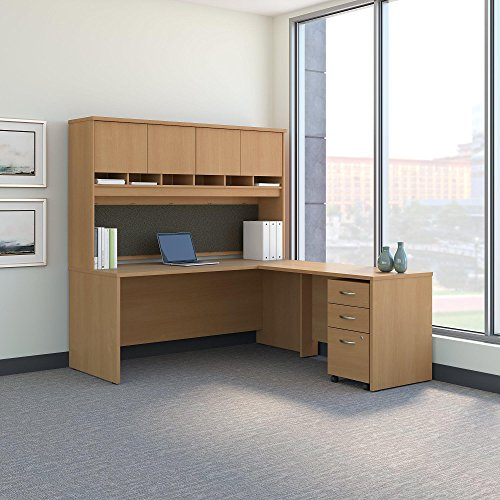 Bush Business Furniture Series C 72W L Shaped Desk with Hutch and Mobile File Cabinet in Light Oak ()