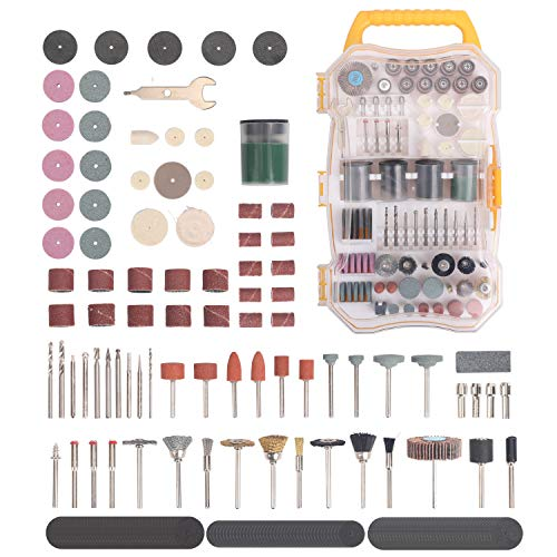 (208 Pieces Rotary Tool Accessory Kit, 1/8-inch Diameter Shanks Universal Fitment for Easy Cutting, Grinding, Sanding, Sharpening, Carving and Polishing. With Storage Case)