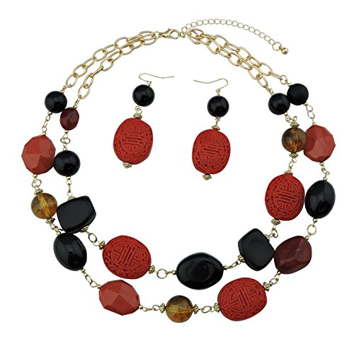 Chunky Beaded Necklace Earring (BOCAR 2 Layer Statement Chunky Red Black Beaded Fashion Collar Necklace Earring Set for Women Gifts (434))