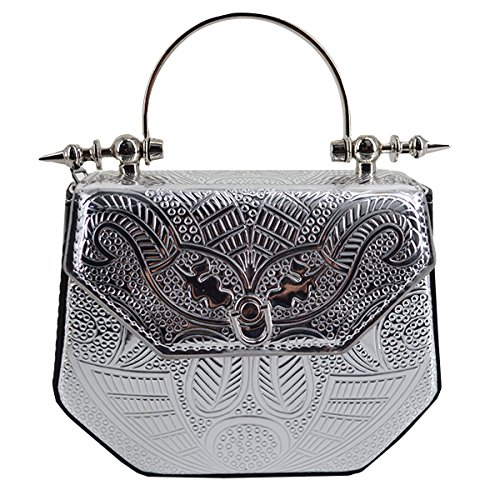 LABANCA Womens Embossed Chain Handle Tote Bags Purse Casual Fahion Shoulder Cross Body Purse Evening Bag Silver ()