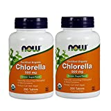 Now Foods Organic Chlorella 500 mg Tablets, 200 Count (Pack of 2)