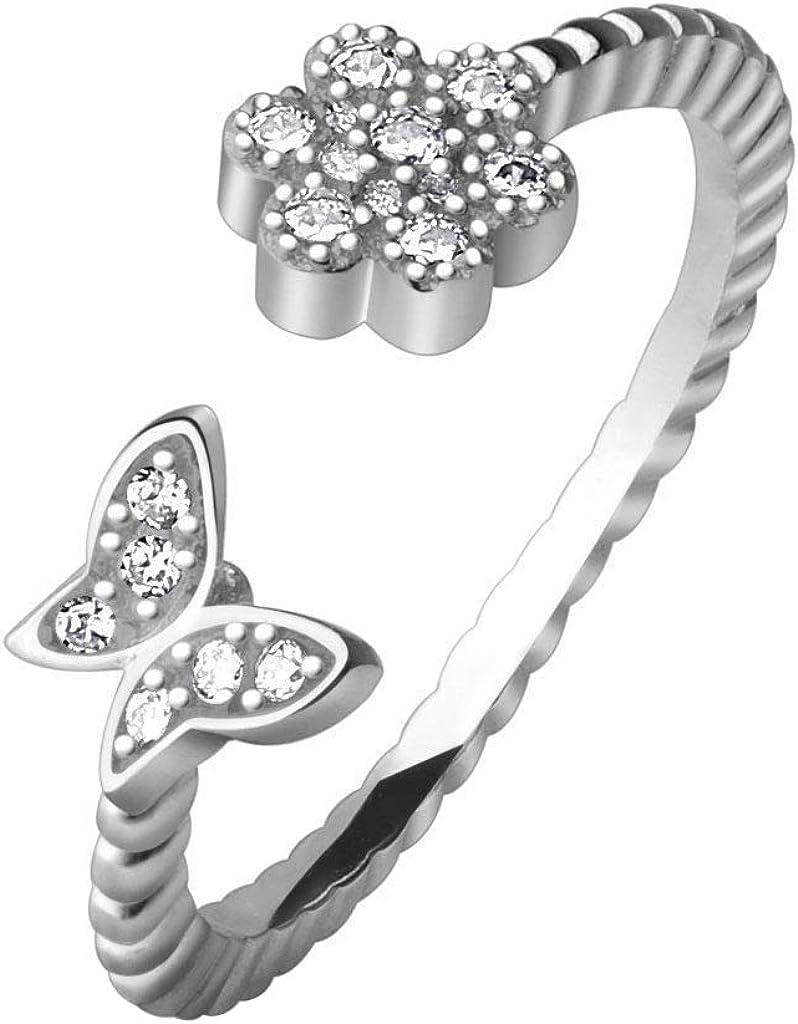 2Hearts Mujer White Sim. Diamante .925 Plata esterlina Flor y Mariposa Ajustable Anillo del Dedo del pie