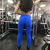 Vicbovo Yoga Leggings, Women Sexy Ruched Butt High Waist Yoga Pants Butt Lift Stretchy Workout Gym Leggings - Solid Color from Vicbovo