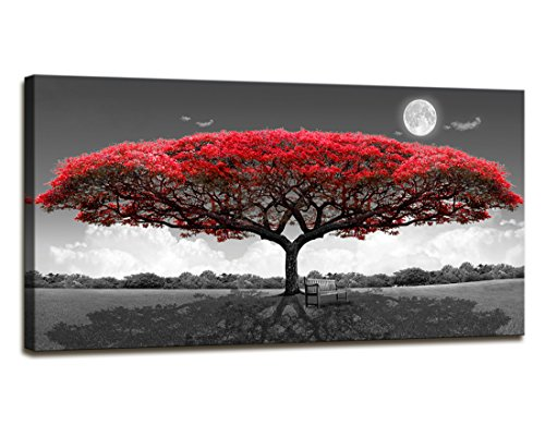 youkuart Canvas Print Wall Art red tree Painting For Living Room Decor And Painting Wall Art Decor 20quot x 40quot Pieces Framed wall decor artwork Office Gifts Art Ready to Hang for Home Decoration
