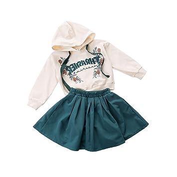 feiXIANG Ropa de Mayor Venta bebé niña Traje de Manga Larga Carta Impresa suéter con Capucha