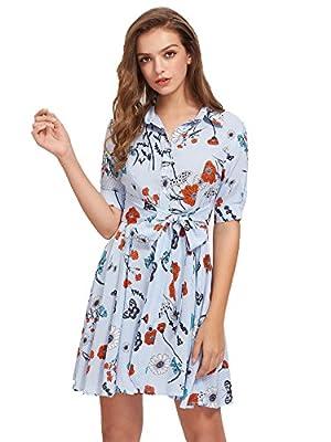 Floerns Women's Short Sleeve Tie Waist Casual Shirt Dress