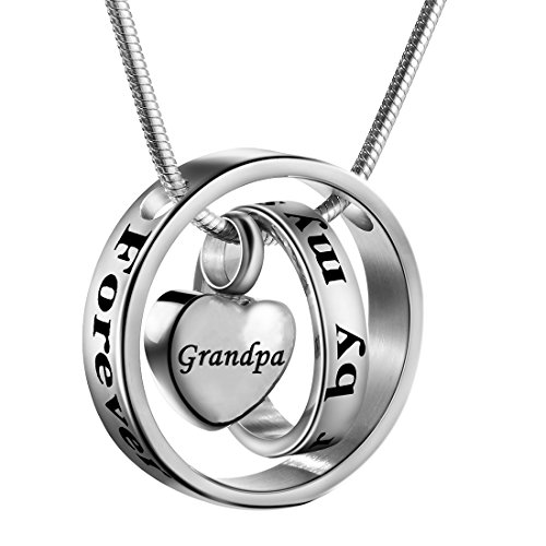 Cremation Jewelry No Longer by My Side, Forever in My Heart Carved Locket Cremation Urn Memorial Necklace Keepsake Urn Pendant for Dad (Grandpa)
