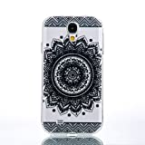 Galaxy S4 Case, Weline Samsung Galaxy S4 Case Clear Design Black Floral Pattern Premium Shockproof Skin Slim Fit Hybrid Armor Shell Silicone TPU Soft Cover for Samsung Galaxy S4 - Henna Black