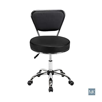 Technician Stool Reception Desk Chair DAYTON BLACK Pneumatic, Adjustable, Rolling Salon...