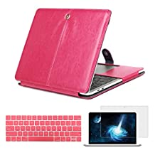 Ivos PU Leather Case Cover Clip On Folio Case Business Style with Stand and Keyboard Cover Skin Screen Protector for Apple Macbook Air 11 11.6 inch A1370/A1465 - Hot Pink