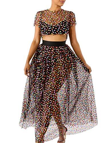 Akmipoem Womens Colorful Polka Dot Sheer Mesh Crop Top+Long Skirt Set Club 2 Piece Outfits