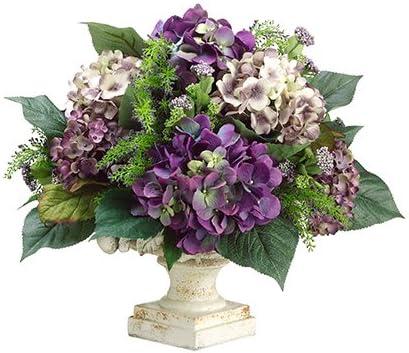 Amazon Com 16 Hx17 Wx17 L Hydrangea Heather Berry In Resin Container Purple Lavender Kitchen Dining