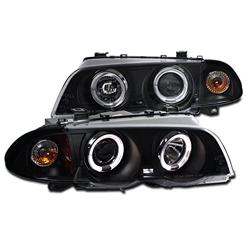 ZMAUTOPARTS BMW E46 3Series 4Dr Halo LED Projector Headlight Black/Amber 323I 328I (4dr Halo Led)