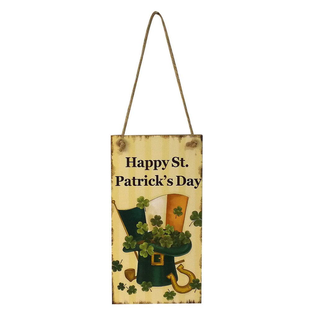 St. Patrick's Day Wooden Sign Door Wall Hanging Decoration St. Patricks Day Wood Sign for Holiday Home Office Bathroom Door Decor (A)