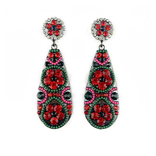 Curved Barbell Illusion Earrings (Elakaka Bohemian-style Drop-shaped Flowers Inlaid Earrings(Red))
