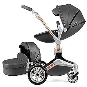 2020 Hot Mom Poussette Combinée Trio 2 en 1 combinée,360 degrés de rotation, 100% pu cuir, angle de siège réglable…