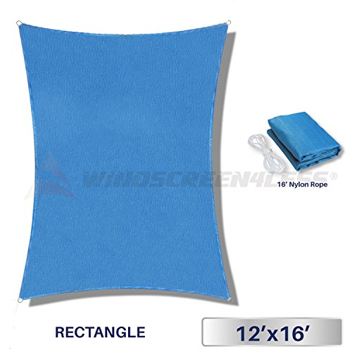 Windscreen4less Sun Shade Sail for Outdoor Patio Backyard UV Block Awning with Steel D-rings 12ft x 16ft Sky Blue Rectangle - Custom Size Available