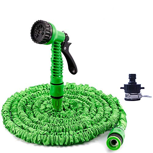 GRULLIN 50FT Garden Hose 3X Expanding Flexible Hose Lightweight Upgraded no Kink Water Hose, Plastic 7 Function Spray Nozzle with a General Purpose Connector