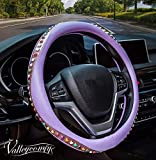 Valleycomfy Bohemian Style Car Steering Wheel Covers Universal 15 inch - Bling Colored Diamond for Women, Breathable, Anti Slip & Odor Free (Purple)
