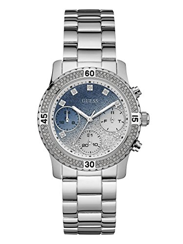 GUESS Women's Stainless Steel Crystal Casual Watch, Color: Silver-Tone (Model: U0774L6) by GUESS