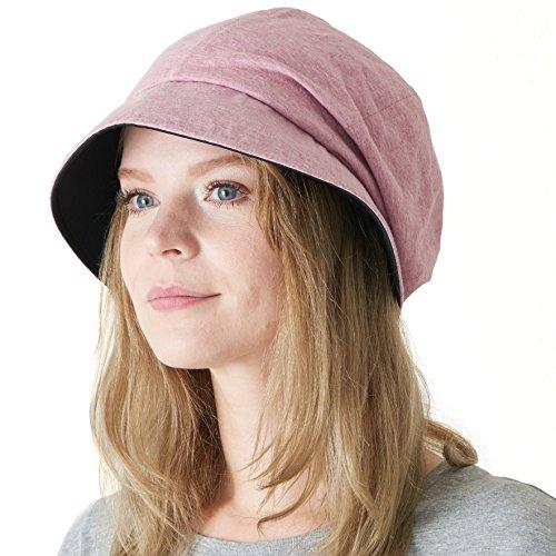 CHARM Womens Organic Cotton Sun Hat - SPF50 Japanese Design Soft UV Protection Anti-Aging Red